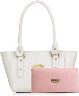 Fostelo Women's Combo Handbag & Clutch (White & Light Pink) (FSB-1299-FC-39)