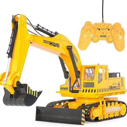SXPC Vehículo de ingeniería de Control Remoto Modelo de Excavadora 1 18 Excavadora de Carga Grande Coche de Juguete de Control Remoto eléctrico para Niños