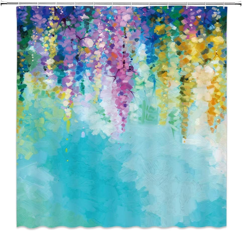 WZFashion Watercolor Flower Shower Curtain Our shop OFFers the best service Romantic and Ins Max 48% OFF Ivy