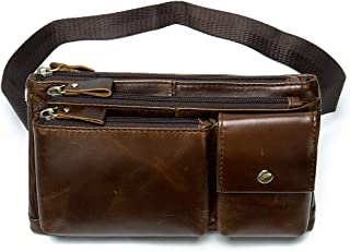 NIUCUNZH Multiple Carrying Fanny Pack Genuine Leather Waist Belt Bag for Men Hip Purse with Hand Wristband Coffee