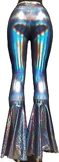 Iridescent Mermaid High Waisted Wide Leg Yoga Bell Bottom Pants Leggings