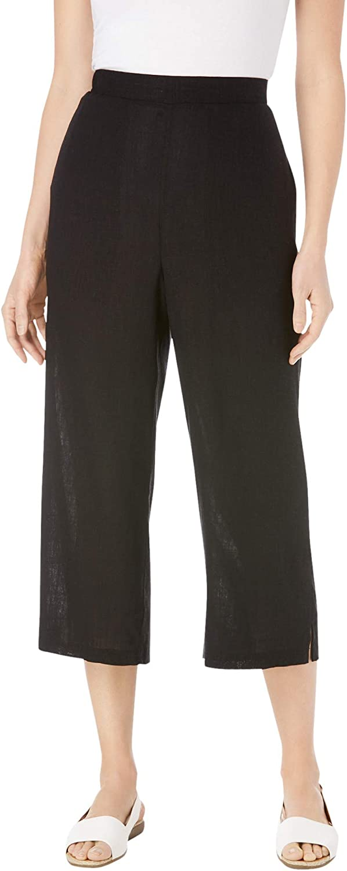 Woman Within Women's Plus Size Petite Linen Capri Pants