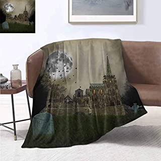 jecycleus Gothic Bedding Microfiber Blanket Old Village and Graves with Medieval Castle and Full Moon Birds Fog Horror Art Super Soft and Comfortable Luxury Bed Blanket W70 by L70 Inch Beige Green