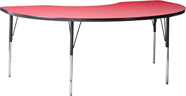 """Correll Activity Table High Pressure 48"""" x72"""" Kidney Top, Heavy Duty Height Adjustable Legs Made in the USA, 48"""" x 72""""/21""""-30"""", Red"""