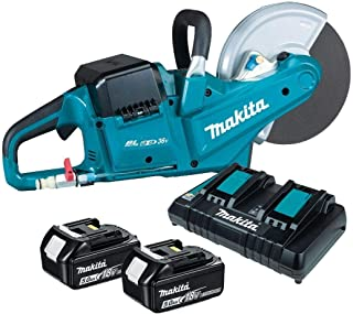 Makita DCE090T2X1 Twin 18V (36V) Li-ion LXT Brushless 230mm Disc Cutter Complete with 2 x 5.0 Ah Batteries and Twin Port C...