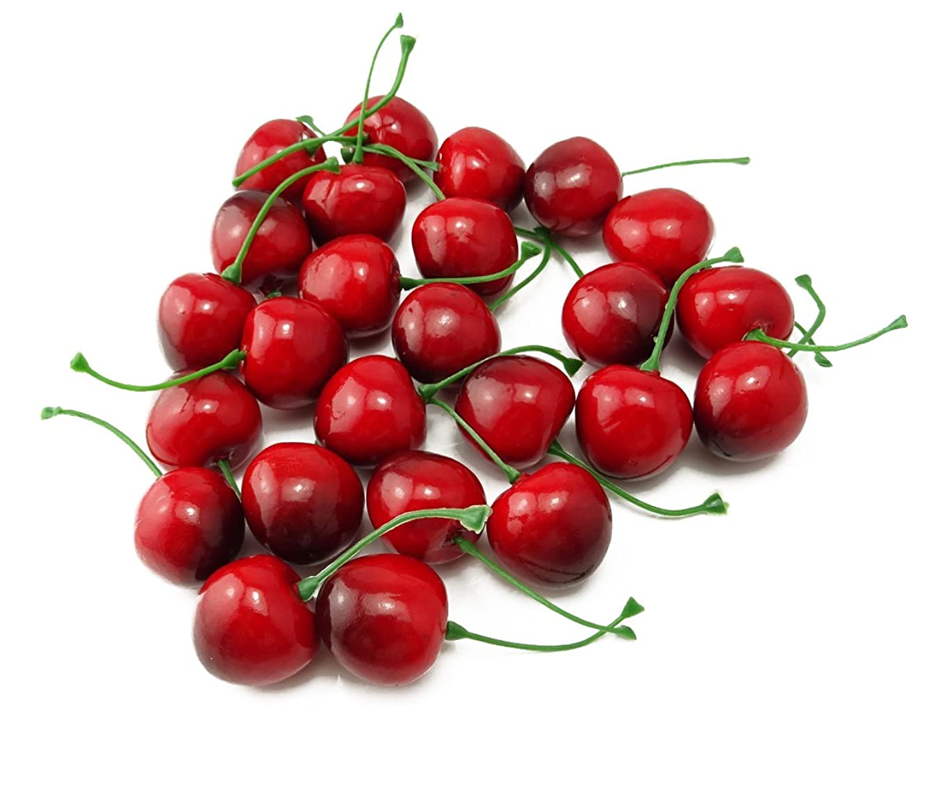 yueton Pack of 25 Artificial Lifelike Simulation Small Red Black Cherries Fake Fruit Model Home House Kitchen Party Decoration Desk Ornament