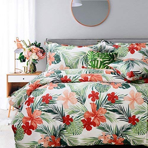 FADFAY College Bedding Tropical Duvet Cover Set Twin XL Hawaiian Style Red Hibiscus Palm Leaves Super Soft 100% Cotton Hypoallergenic with Hidden Zipper,Twin XL Size for College Room