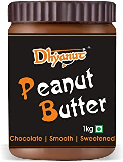 Dhyanut Chocolate Peanut Butter Smooth | Made with Roasted Peanuts, Cocoa Powder & Choco | 1 Kg