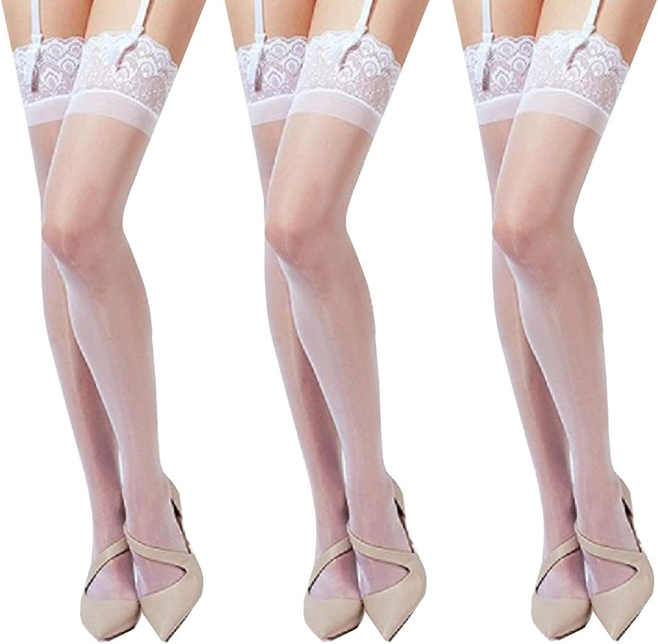 3 Pairs Ultra Shiny Lace Top Thigh High Silk Stockings Shimmery Glossy Sheer Antiskid Silicone Tights