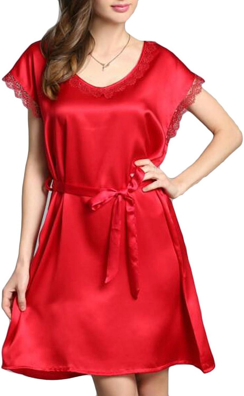 Cromoncent Women Round Neck Silk Solid color Short Sleeve Sleepwear Sleep Dress Nightgowns