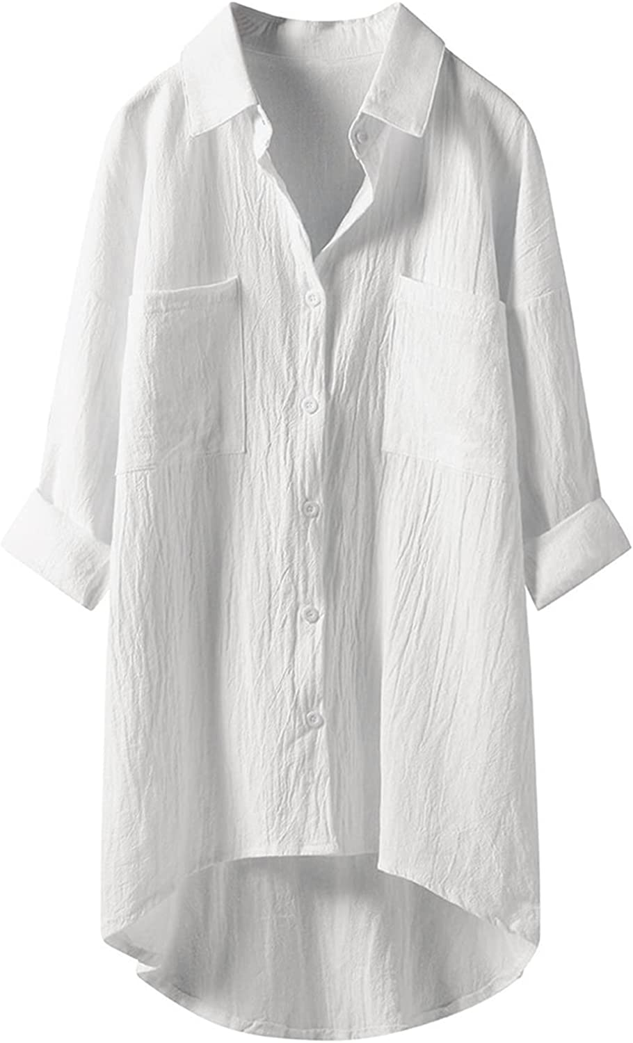 Women's Linen Blouse High Low Shirt Roll-Up Sleeve Tops Plus Size Button Down Oversized Tunic Shirt with Pockets(M-5XL)