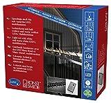 Konstsmide mini catena luminosa LED, con Multi funzione, dispositivo di controllo E funzione Memory, 80bianca calda & 80diodi a luce bianca fredda, trasformatore esterno 24V, cavo nero 6420–150