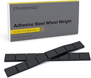 StanceMagic - 0.25oz - Black Adhesive Stick On Wheel Weights (Easy Peel, Low Profile) - Steel (Zinc Plated) - 18oz (1.125 lbs) total, 9 total 2oz strips, 72 total pieces