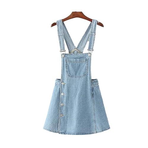 0e033f6702 Denim Overall Dress Women s Classic Adjustable Strap Dress with Pocket