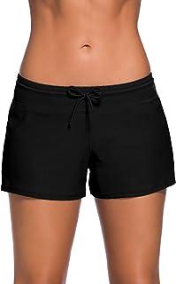Yavero Shorts de Baño Mujer Secado Rápido Cortos con Cordón Ajustables Bikini Short Deportes Acuáticos Size S - 3XL