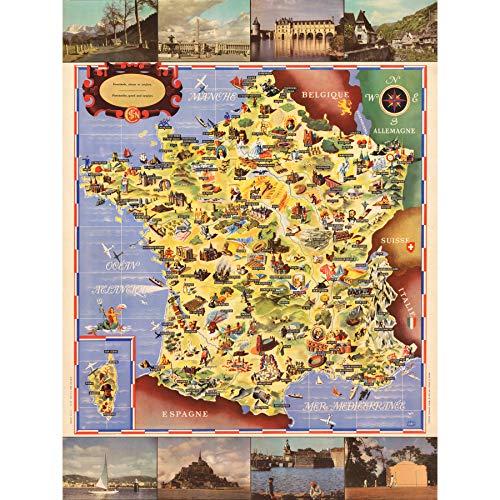 Póster de Batany 1947 con mapa pictórico de Francia, turismo ferroviario, extra grande, impresión artística