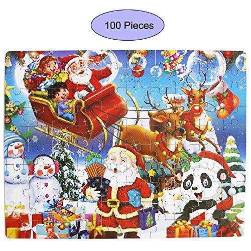 Gobus Rompecabezas de Madera Papá Noel Reno de Navidad Feliz Navidad Rompecabezas Educación Puzzle Juguete para niños Adolescentes Adultos (100 Piezas)