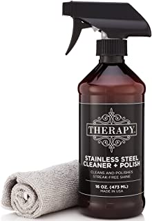 Therapy Premium Stainless Steel Cleaner & Polish – Includes Large Microfiber..
