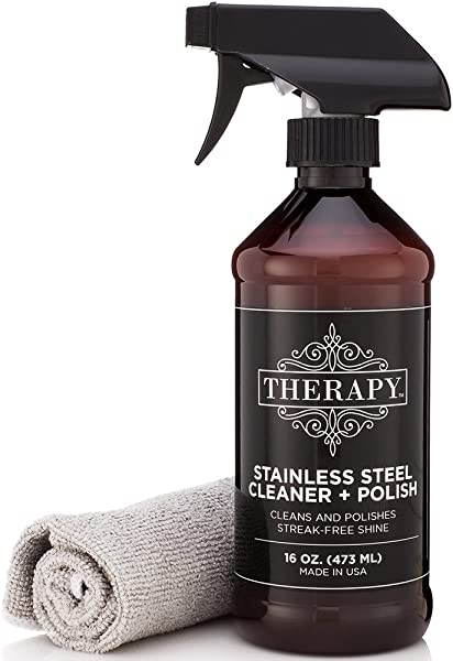 Therapy Premium Stainless Steel Cleaner Polish Includes Large Microfiber Cloth 16 Fl Oz