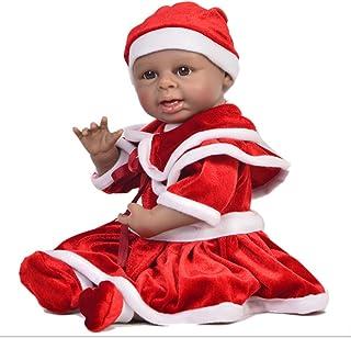 JTYX DOLLS 17inch/42cm Reborn Baby Full Silicone Black Simulation Doll Brown Eyes Newborn Playmate Realistic Doll Children Birthday Gift Washable,Color1,42cm