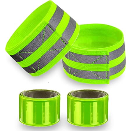 Reflective Bands for Wrist, Arm, Ankle, Leg. High Visibility Reflective Gear for Night Walking, Cycling and Running. Safety Reflector Tape Straps. Very Large Reflective Surface Area