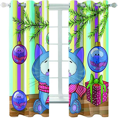 MMHJS Cortinas Impresas Navideñas 3D Cortinas Impermeables Reutilizables Cortinas Verticales Opacas Suaves para Balcón De Jardín (2 Piezas)