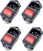 IEC320 C14 el/éctrico AC Socket 3 pin rojo Interruptor LED 250V Rocker 10A fusible montaje enchufe hembra macho tap/ón de entrada del conector 2 pin,AC-17