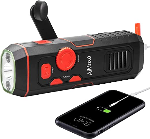 AiMoxa Emergency Self Powered Radio 【2021 Newest】, Crank Portable Weather Radio with 100 Lm LED Flashlight, Power Bank for iPhone/Smart Phone, SOS Alarm for Home, Outdoor, USB Rechargeable