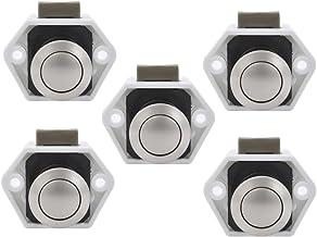 Bona Push Lock 15-27mm meubelsloten slot meubelgreep Camping Caravan Boot (5 stuks White/Nikkel)