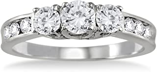 AGS Certified 1 Carat TW Diamond Three Stone Ring in 10K White Gold (K-L Color, I2-I3 Clarity)