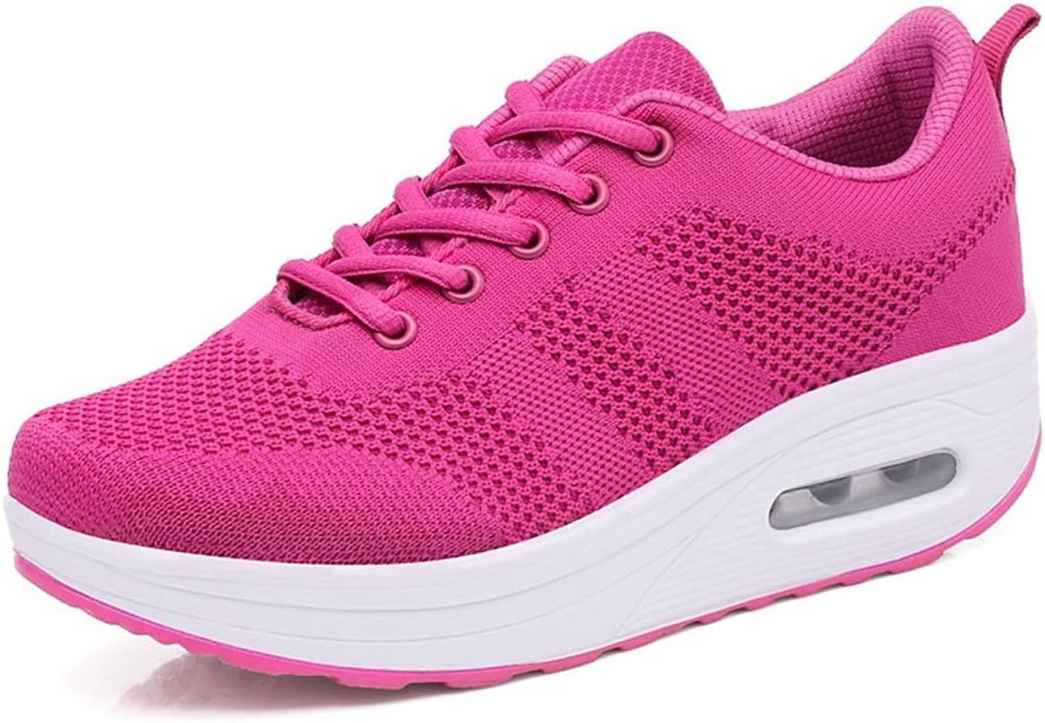 ASO-SLING Women's Wedge Sneakers Breathable Mesh Lace up Fitness Walking shoes Comfortable Lightweight Running shoes