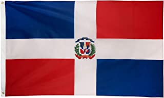 DANF Dominican Flag 3x5 Foot Polyester Bandera De Republica Dominicana National Flags Polyester with Brass Grommets 3 X 5 Ft