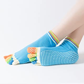 Yiwa Women Leisure Five-Toe Socks Fashion Yoga Toe Socks Anti-Slip Five Fingers Socks