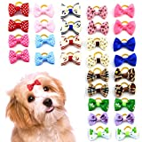 MEWTOGO 30 pcs/15 Pairs Dog Hair Bows with Rubber Bands-Pet Hair Accessories for Girl Puppy Small Dogs (Rubber Band)