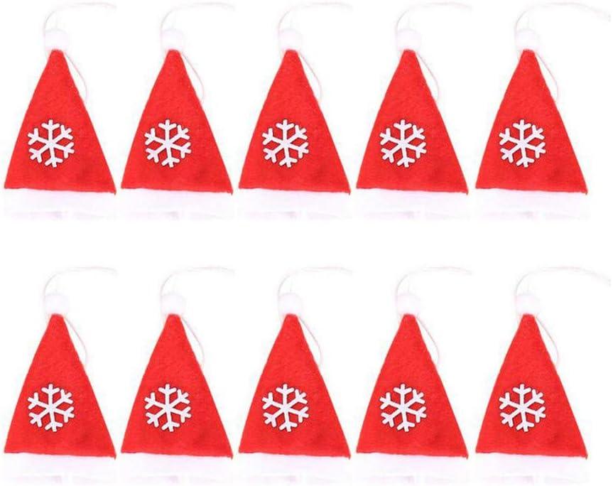 Bascar - Juego de 10 Piezas de decoración navideña con diseño de Gorro de Navidad, Tenedor y tapón para Botellas de Vino