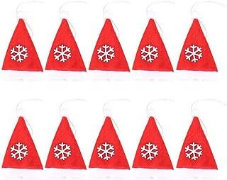 jiumoji 10pcs Christmas Hat Tableware Cover Festival Dinnerware Set Cap Home or Tree Decoration