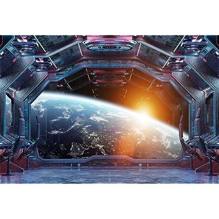 10x8ft Vinyl Space Station Photo Backdrop Spaceship Cockpit Space Shuttle Explorer Space Journey Background Universe Plantet Photographic Backdrop Portrait Photo Props Studio Backdrop