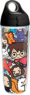 Tervis Harry Potter - Group Charms Tumbler with Wrap and Black with Gray Lid 24oz Water Bottle, Clear