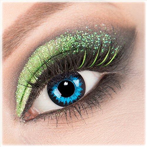 Farbige blaue schwarze 'Blue Crystal' Kontaktlinsen 1 Paar Crazy Fun Kontaktlinsen mit Kombilösung (60ml) + Behälter zu Fasching Karneval Halloween - Topqualität von 'Giftauge' ohne Stärke