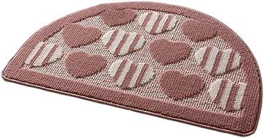 Non-Slip Fabric&Velvet Semi-Circle Doormat Bath Rug 48x78cm [Camel&Heart-Shaped]
