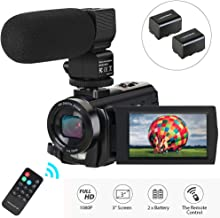 Video Camera Camcorder,Digital Camera Recorder with Microphone 1080P 30FPS 24MP 3