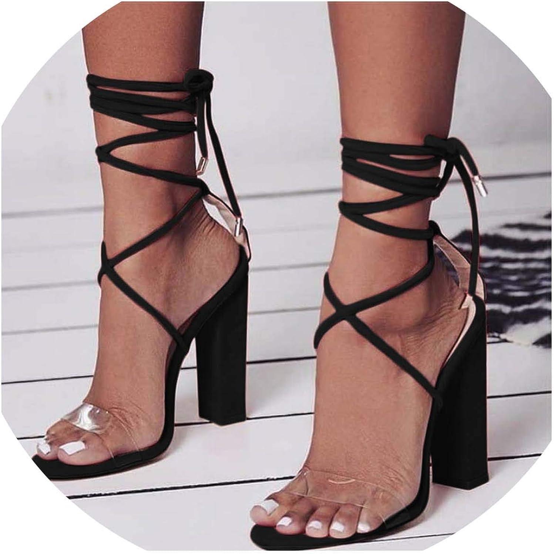 HuangKang Women Pumps 2019 Summer High Heels Sandals PVC Transparent Women Heels Wedding shoes Waterproof Sandals
