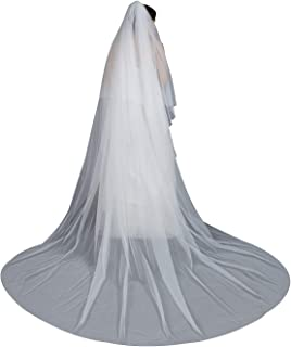 Wedding Bridal Veil with Comb 2 Tier Cut Edge Cathedral Length 118