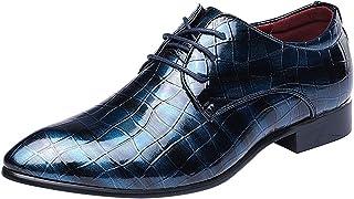 wealsex Moda Scarpe Uomo Pelle Derby Stringate Basse PU Pelle Verniciata Vintage Lace-up Scarpe da Sera