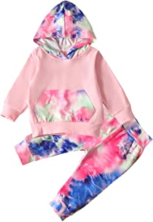 Kids Baby Boy Girl Clothes Tie Dyr Long Sleeve Sweatshirt Hoodie Pants Set 2PCS Outfit Set Fall Winter Clothes