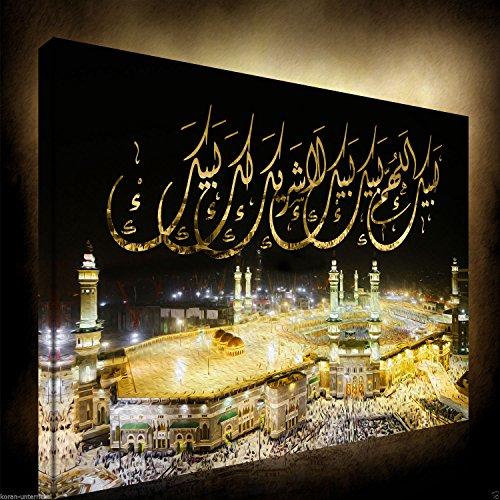 Halal-Wear Islamische Leinwandbilder Dekoration Fotoleinwand Keilrahmen Fertig aufgespannt Allah Koran Ramadan Muhammed (60 x 40 cm, Kaaba bei Nacht)