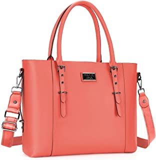 MOSISO PU Leather Laptop Tote Bag for Women (Up to 15.6 inch), Living Coral
