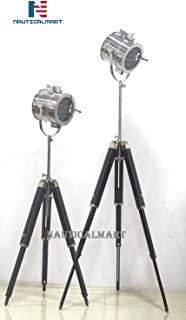 NauticalMart Vintage Industrial Theatre Stage Spotlight Searchlight Tripod Floor Lamp Set of 2