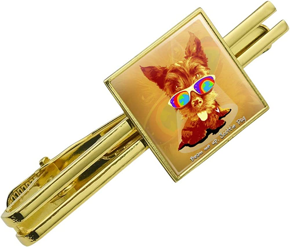 GRAPHICS & MORE Beam Me Up Scottie Dog Suglasses Vintage Retro Square Tie Bar Clip Clasp Tack Gold Color