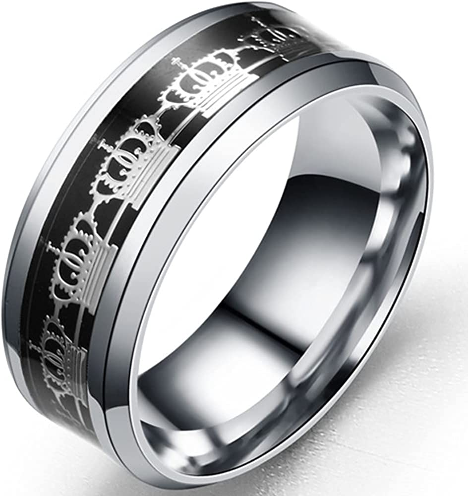 8mm Stainless Steel Crown Patter Inlay Eternity Band Style Wedding Statement Anniversary Ring